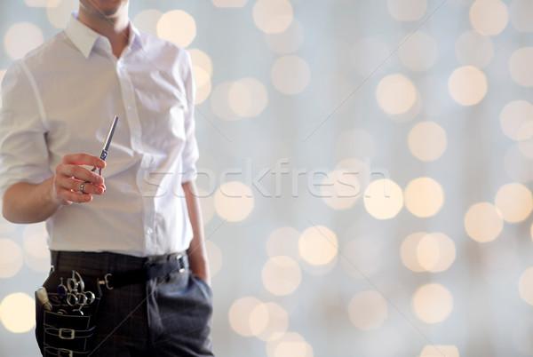 Erkek stilist makas ışıklar güzellik Stok fotoğraf © dolgachov