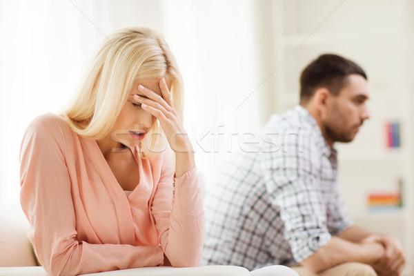 Boldogtalan pár érv otthon emberek kapcsolat Stock fotó © dolgachov