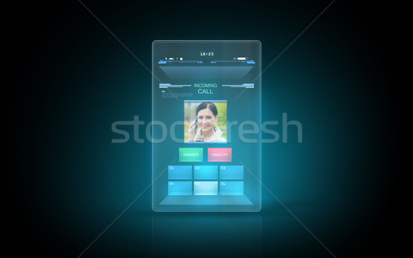 tablet with video call interface on screen Stock photo © dolgachov