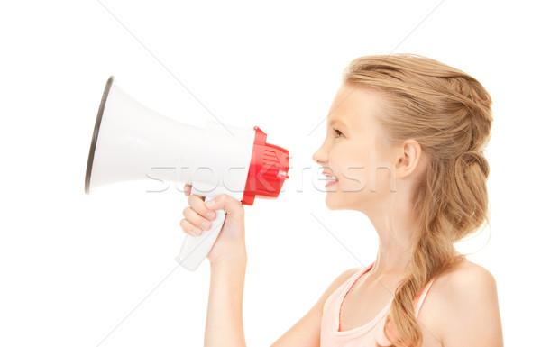 Stockfoto: Meisje · megafoon · foto · witte · gelukkig · nieuws