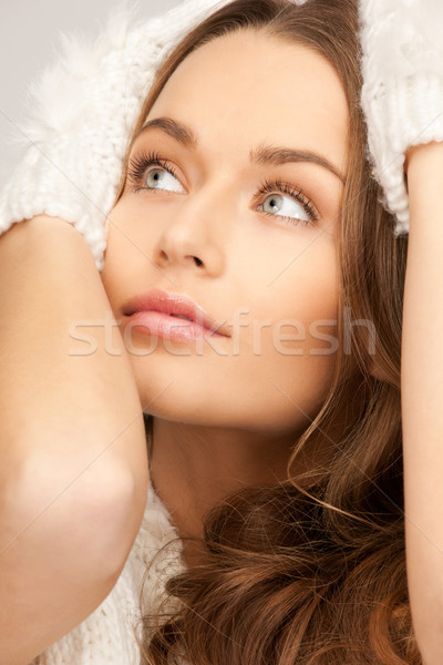 Belle femme blanche gants photos femme visage Photo stock © dolgachov