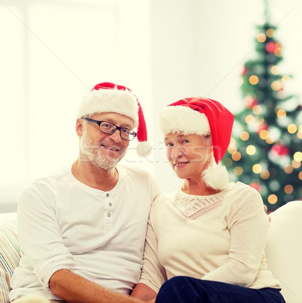 Gelukkig helper hoeden familie Stockfoto © dolgachov