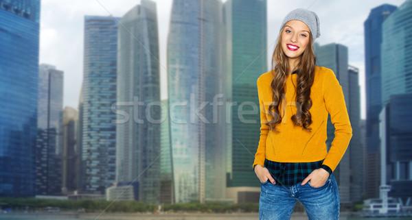 Feliz mulher jovem menina adolescente cidade pessoas estilo Foto stock © dolgachov