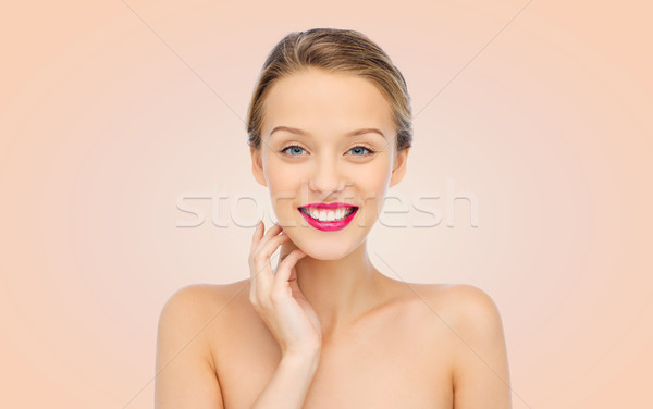 Lächelnd rosa Lippenstift Lippen Schönheit Stock foto © dolgachov