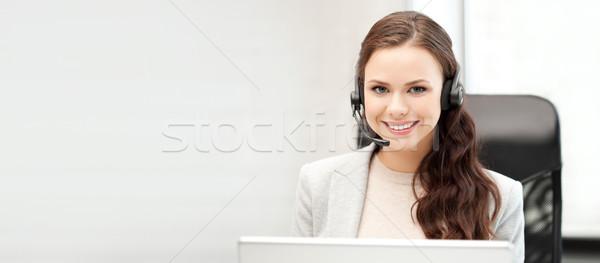 Yardım hattı operatör dizüstü bilgisayar ofis teknoloji resim Stok fotoğraf © dolgachov