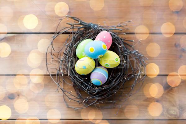 пасхальных яиц гнезда древесины Пасху Сток-фото © dolgachov