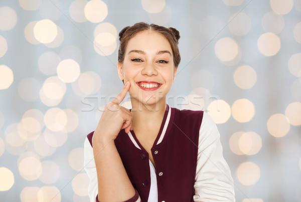 Mutlu gülen güzel genç kız insanlar gençler Stok fotoğraf © dolgachov