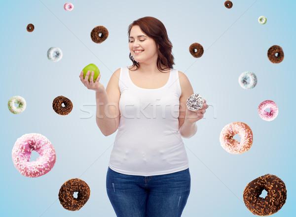 Szczęśliwy plus size kobieta jabłko cookie Zdjęcia stock © dolgachov
