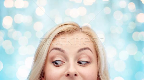 Boldog fiatal nő tinilány arc kíváncsiság hirdetés Stock fotó © dolgachov