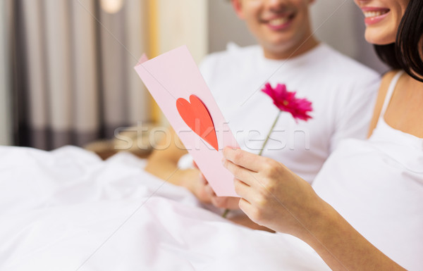 пару кровать открытки цветок любви Сток-фото © dolgachov