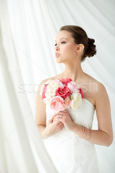 Photo stock: Belle · asian · femme · fleur · bijoux · beauté