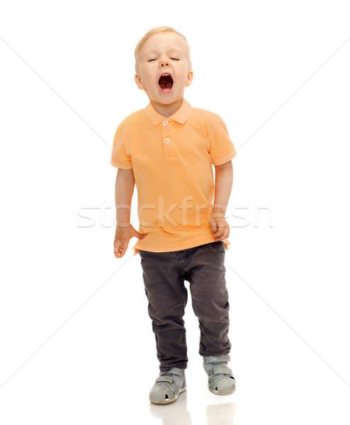 happy little boy shouting or sneezing Stock photo © dolgachov
