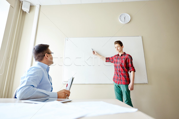 学生 少年 学校 ホワイトボード 教師 教育 ストックフォト © dolgachov