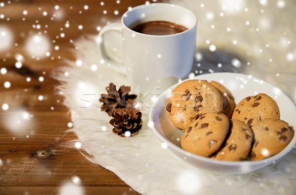 Stockfoto: Warme · chocolademelk · cookies · bont · vakantie