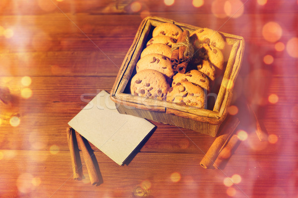 close up of oat cookies and note on wooden  Stock photo © dolgachov