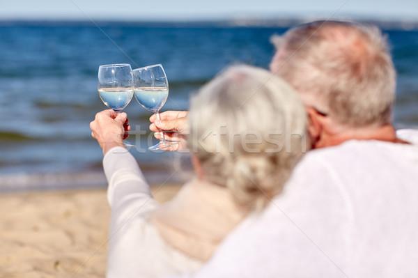 Stockfoto: Gelukkig · drinken · wijn · zomer · strand