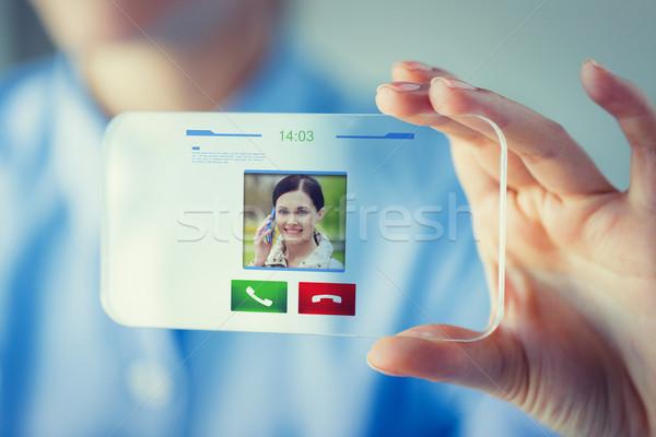 Vrouw transparant smartphone business technologie Stockfoto © dolgachov