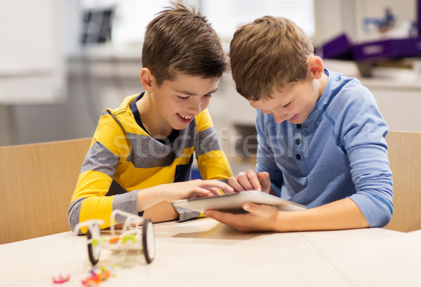 kids with tablet pc programming at robotics school Stock photo © dolgachov