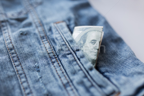 Dollar geld zak denim jas financieren Stockfoto © dolgachov