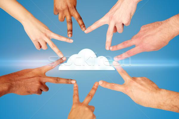 рук мира рукой знак облако значок вычисление Сток-фото © dolgachov