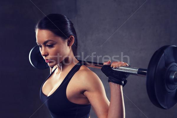 Stok fotoğraf: Genç · kadın · kaslar · halter · spor · salonu · spor · uygunluk