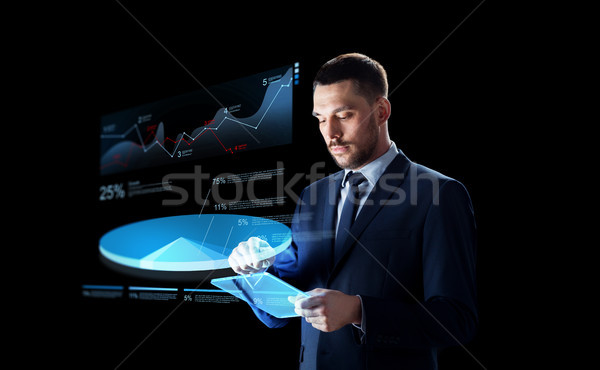 üzletember táblagép virtuális kördiagram üzletemberek jövő Stock fotó © dolgachov