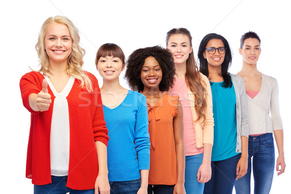 Stock photo: international group of women showing thumbs up