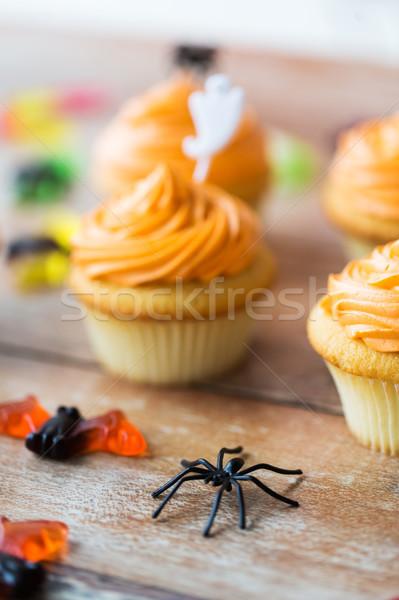 Spider decorazione tavola halloween party vacanze Foto d'archivio © dolgachov