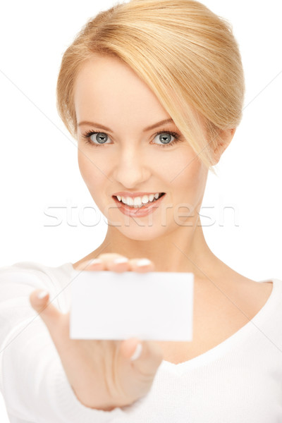 woman with business card Stock photo © dolgachov