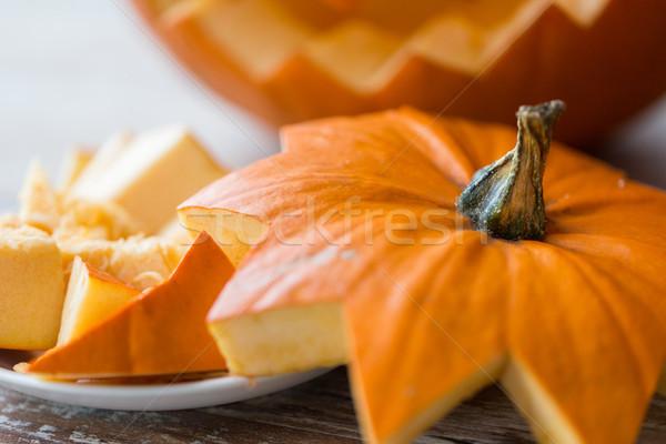 close up of jack-o-lantern or halloween pumpkin Stock photo © dolgachov