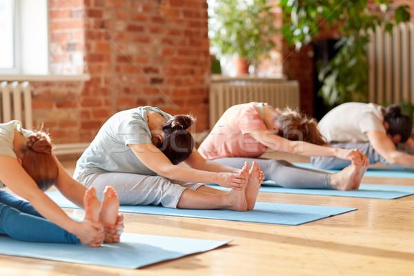 Grupy ludzi jogi naprzód studio fitness Zdjęcia stock © dolgachov