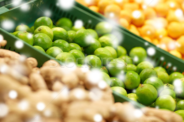 limes at grocery store or market Stock photo © dolgachov