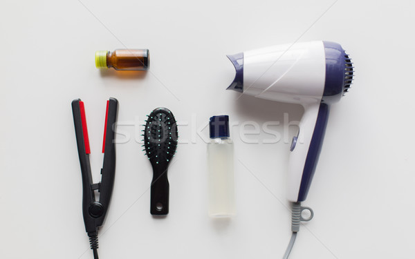 Сток-фото: фен · щетка · горячей · волос · спрей · железной