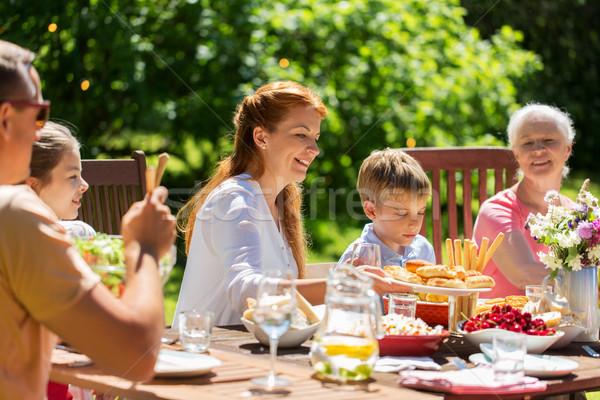 Stock fotó: Boldog · család · vacsora · nyár · kerti · parti · szabadidő · ünnepek