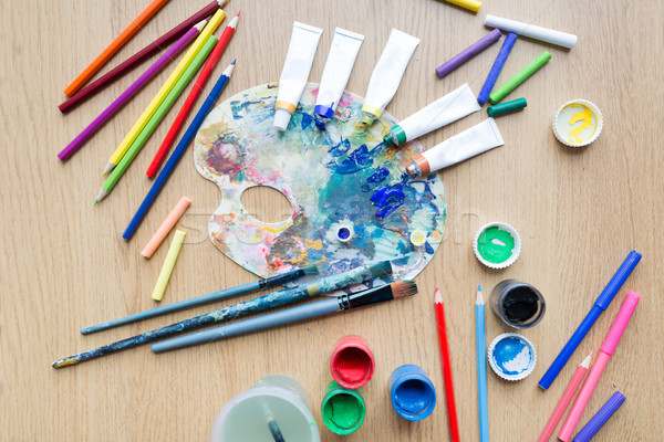 Szín paletta festék csövek asztal képzőművészet Stock fotó © dolgachov