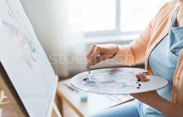 Artista palette coltello pittura arte studio Foto d'archivio © dolgachov