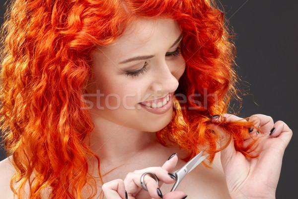 redhead with scissors Stock photo © dolgachov