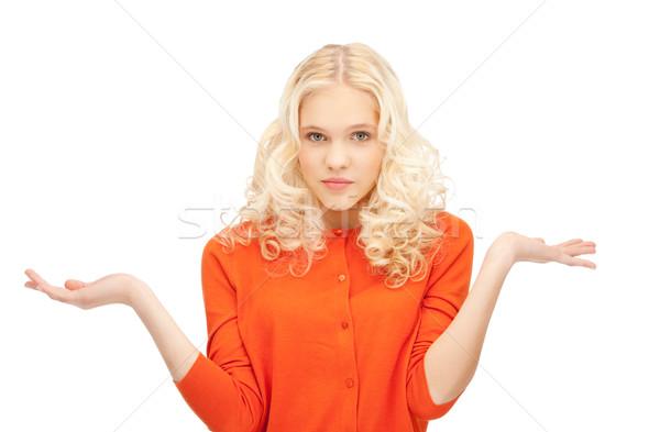 Donna indifeso spalle foto triste bianco Foto d'archivio © dolgachov