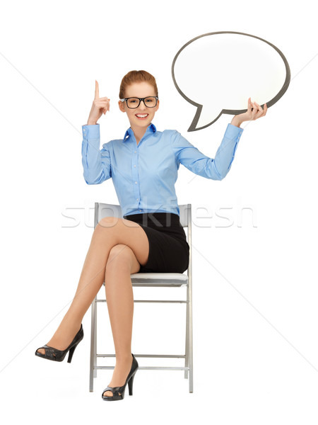 smiling businesswoman with blank text bubble Stock photo © dolgachov