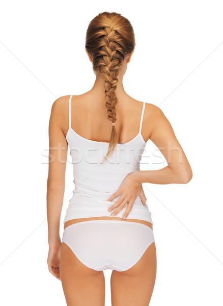 Zdjęcia stock: Piękna · kobieta · bawełny · widok · z · tyłu · kobieta · zdrowia · piękna