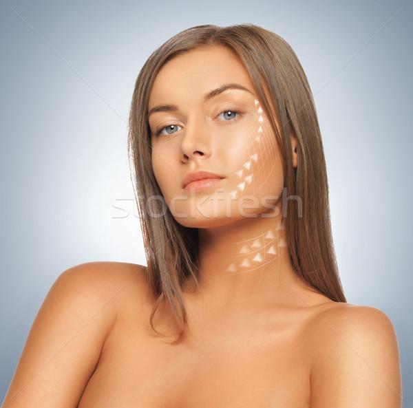 Arc kezek gyönyörű nő kép kész kozmetikai műtét Stock fotó © dolgachov