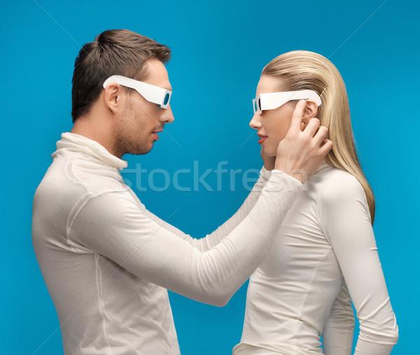 Stock fotó: Férfi · nő · 3d · szemüveg · kép · lány · férfiak