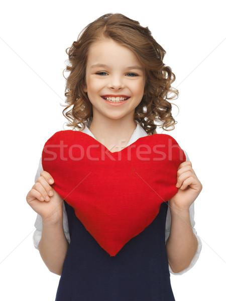 Kız büyük kalp resim güzel kız sevmek Stok fotoğraf © dolgachov