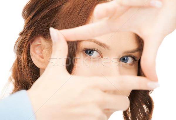 Nő keret ujjak pillanatfelvétel üzlet szemek Stock fotó © dolgachov