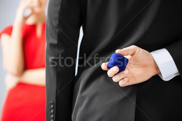 man with wedding ring and gift box Stock photo © dolgachov