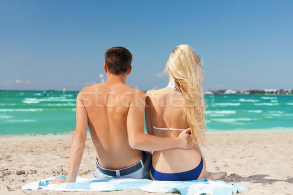 Paar vergadering strand foto meisje man Stockfoto © dolgachov