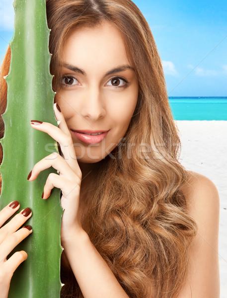 женщину алоэ тропический пляж лице здоровья лет Сток-фото © dolgachov
