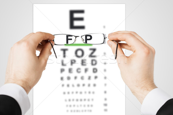 man with glasses and eye chart Stock photo © dolgachov