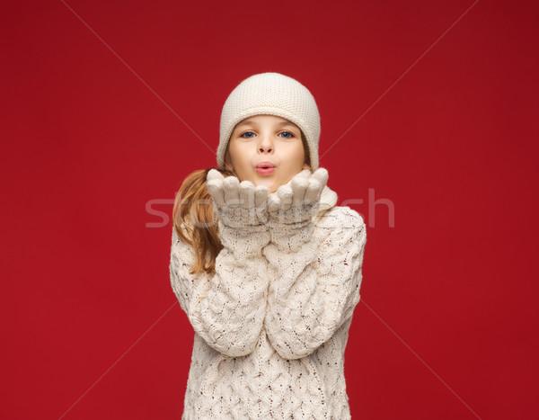 Foto stock: Niña · feliz · invierno · ropa · palmas · Navidad