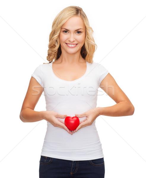 женщину белый рубашку небольшой красный сердце Сток-фото © dolgachov